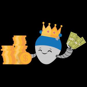 onlinecasino.nu mascot med en hög av pengar