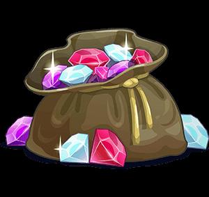 Säck med juveler tecknad