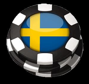Spelmarker med svensk flagga