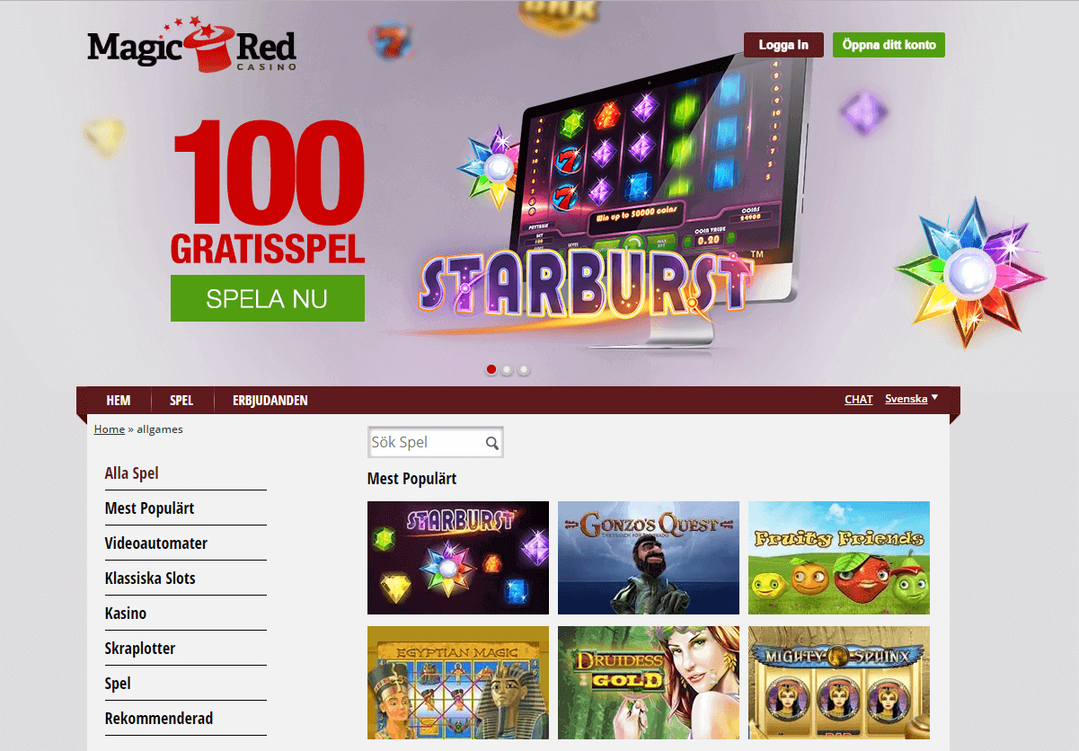 Magic Red - 2000 sek i bonus plus 100 freespins